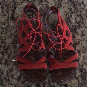 Red Suede SAM EDELMAN Gladiator Sandals